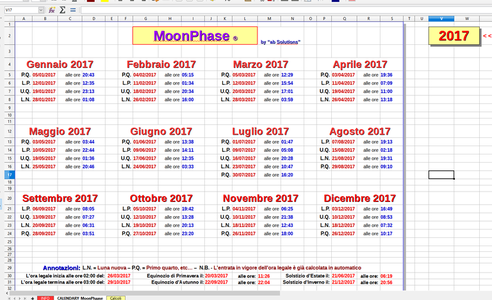 Calendario Lunare Dicembre 2017.Moonphase Calendario Perpetuo Delle Fasi Lunari