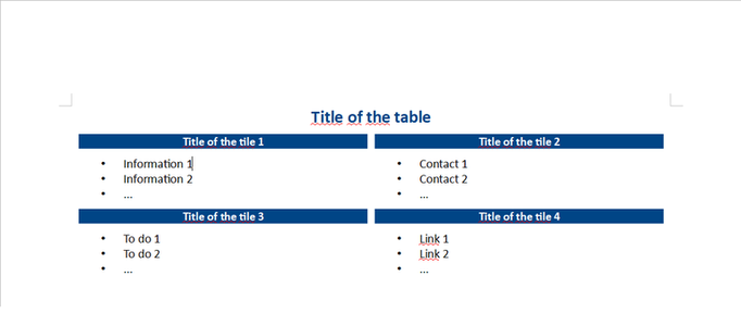 Free download Tiles instead of a table DOC, XLS or PPT template free to be edited with LibreOffice online or OpenOffice Desktop online