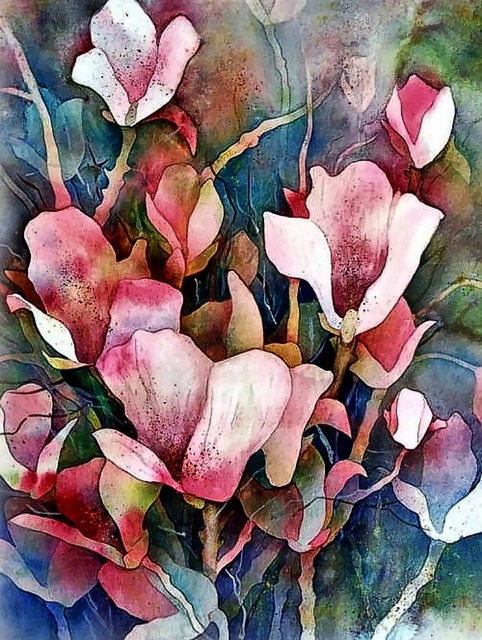 Free download Watercolour Painting Magnolia free illustration to be edited with GIMP online image editor