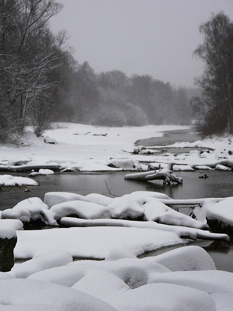 Free download Winter Isar Munich free photo template to be edited with GIMP online image editor